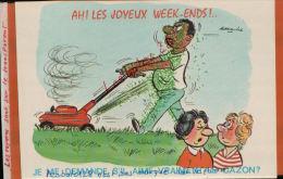 CPA HUMOUR,  Alexandre  AH! Les Joyeux Week-end,  Je Me Demande S'il Aime Vraiment Le Gazon- Mars 2014 Div 249 - Alexandre