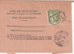 PAIX 75C SEUL SUR AVIS RECEPTION CAD PARIS XIII DU 26/10/33 DISTRIBUTION -  Tdcb012 - Marcophilie (Lettres)
