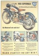 Moto, Motard, Motocyclisme  ** NSU  Supermax ** - CP Pub Illustrateur -1974 -Parfait Etat  (voir 2 Scans) - Motos