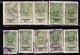 INDIA FOREIGN BILL 50 RS 10 REVENUE FISCAL USED STAMPS LOT #5012 - India