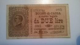 BANCONOTA BUONO CASSA DA LIRE 2 VITTORIO EMANUELE III - [ 1] …-1946 : Regno