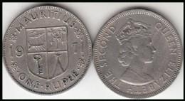 MAURITIUS 1 RUPEE 1971  Queen Elizabeth II - KM#35.1 - Used - Mauritius