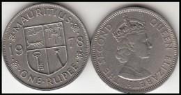 MAURITIUS 1 RUPEE 1978  Queen Elizabeth II - KM#35.1 - Used - Mauritius
