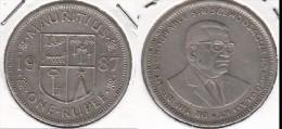 MAURITIUS 1 RUPEE 1987 - KM#55 - Used - Mauritius