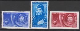 Roumanie N° PA 141 - 142 - 143 ND  *** Le Premier Cosmonaute : Youri Gagarine - Dans Sa Cabine - 1961 - Poste Aérienne