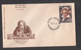 INDIA, 1970, FDC , Ludwig Beethoven, Music Composer, Bhopal Cancellation - Storia Postale