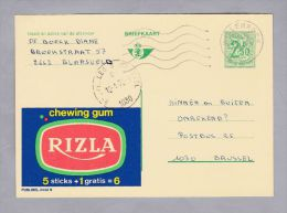 """MOTIV Lebensmittel 1972-01-12 Werbe-Ganzsache """"RIZLA"""" Chewing Gum - Illustrat. Cards"""