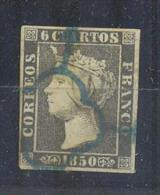 ESPAÑA Nº1A 6 CUARTO 1850 BONITO SELLO CON 4 MARGENES MATASELLEDO ARAÑA AZUL (INSIGNIFICANTE PUNTO DE AGUJA) - 1850-68 Kingdom: Isabella II