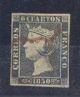 ESPAÑA Nº1A 6 CUARTO 1850 BUENOS  MARGENES MATASELLEDO ARAÑA ROJA - 1850-68 Reino: Isabel II