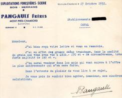 -  41 - LETTRE D'AFFAIRES , Bois, Merrains PANGAULT Frères à MONT-PRES-CHAMBORD 41 - 647 - Petits Métiers