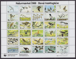 Denmark WWF Panda Issue 1988 Sheet Bird Vogel Oiseau MNH** - W.W.F.