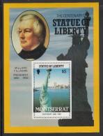 Montserrat MNH Scott #638 $5 Millard Fillmore, Statue Of Liberty - Centenary - Montserrat