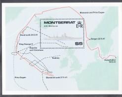 Montserrat MNH Scott #735 Souvenir Sheet $5 K.M. Bismarck, Map Of North Atlantic - WWII Battleships - Corner Crease - Montserrat