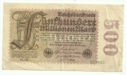 Germany 500 Millionen / 500000000 Mark 01/09/1923 - [ 3] 1918-1933 : Weimar Republic