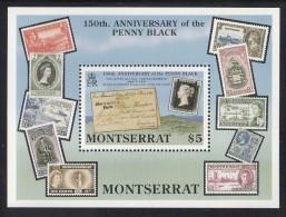 Montserrat MNH Scott #745 Souvenir Sheet $5 Chateau Barrack Cover 1836, Penny Black - 150th Anniversary - Montserrat