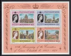 Montserrat MNH Scott #388a Souvenir Sheet Of 4 Different Cathedrals, Queen Elizabeth II - 25th Anniversary Of Coronation - Montserrat