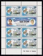 Montserrat MNH Scott #578-#579 Sheet Of 7 'Royal Caribbean Visit' $1.60 On $4 Prince Charles, Lady Diana - Royal Wedding - Montserrat