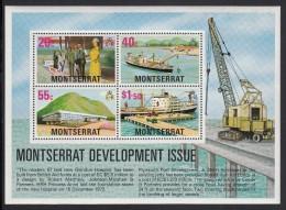 Montserrat MNH Scott #373a Souvenir Sheet Of 4 Hospital, Jetty - Development - Montserrat