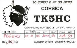 CARTE QSL . RADIO AMATEUR . CORSICA . FARINOLE . 1992 . - Radio-amateur