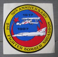 70th Anniversary. Fighter Bomber Squadron 1917-1987 - Autocollant. Aviation Avion - Pegatinas