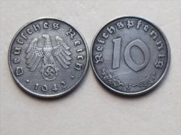 UNE PIECE  DE MONNAIE  D ALLEMAGNE III eme REICH  DE 10 REICHSPFENNIG  1942 J