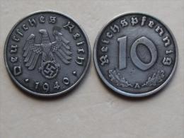 UNE PIECE  DE MONNAIE  D ALLEMAGNE III eme REICH  DE 10 REICHSPFENNIG  1940 A