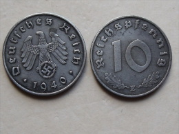 UNE PIECE  DE MONNAIE  D ALLEMAGNE III eme REICH  DE 10 REICHSPFENNIG  1940 E