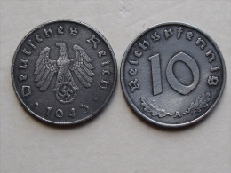 UNE PIECE  DE MONNAIE  D ALLEMAGNE III eme REICH  DE 10 REICHSPFENNIG  1943 A
