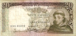 BILLETE DE PORTUGAL DE 20 ESCUDOS DEL AÑO 1964 DIFERENTES FIRMAS   (BANKNOTE) - Portugal