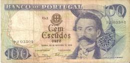 BILLETE DE PORTUGAL DE 100 ESCUDOS  DEL AÑO 1965 DIFERENTES FIRMAS (BANKNOTE-BANK NOTE) - Portugal