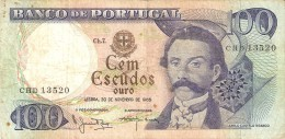 BILLETE DE PORTUGAL DE 100 ESCUDOS  DEL AÑO 1965 DIFERENTES FIRMAS (BANKNOTE-BANK NOTE) - Portogallo