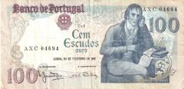 BILLETE DE PORTUGAL DE 100 ESCUDOS AÑO 1981 DIFERENTES FIRMAS (BANKNOTE) - Portugal