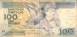 BILLETE DE PORTUGAL DE 100 ESCUDOS  DEL AÑO 1986 SERIE ABD (BANKNOTE-BANK NOTE) - Portugal