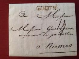 1764 Marque Bureau Français De GENEVE Pour NISMES (Nimes) Mr Guerignon Receveur Des Gabelles (2 Scans) - Marcophilie (Lettres)