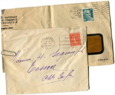 ANGOULEME Charente 2 OBLITERATIONS MECANIQUES 1928 / 1945 - Marcophilie (Lettres)