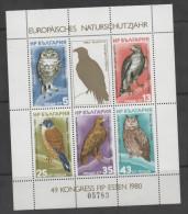 BULGARIA ,1980, MNH, EUROPEAN YEAR OF NATURE PROTECTION, ESSEN, BIRDS, BIRDS OF PREY, SHEETLET, NUMBERED - Eagles & Birds Of Prey