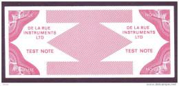 "Test Note ""De La Rue Instruments"", W/o Units, Beids. Druck, RRRRR, Lightly Used, Dollar-Format - Regno Unito"
