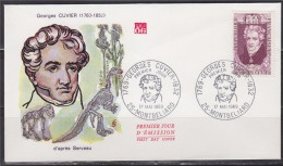 = Enveloppe 1er Jour Jour Georges, Baron Cuvier, Naturaliste 25 Montbeliard 17 Mai 69, N°1595 - 50c+10c - Célébrités