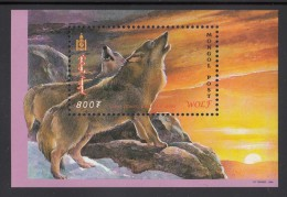 Mongolia MNH Scott #2413 Souvenir Sheet 800t Pair Of Wolves Baying At Sunrise/sunset - Mongolie
