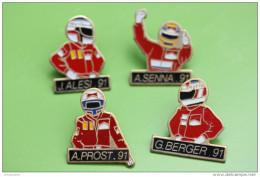 Lot De 4 Pin´s Pilote Formule 1 - Alesi - Senna - Prost - Berger - Formula One - F1 - Course Automobile - Automobile - F1