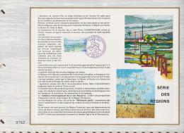 306 FDC 1ER JOUR 31 X 22cm 1976 FEUILLET CENTRE SERIE DES REGIONS - Documentos Del Correo