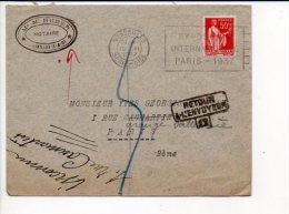 """1937 Flamme Flier Temporaire Versailles""""Exposition Internationale Paris 1937 """" Sur Paix Seul / Cachets Facteurs Verso - Postmark Collection (Covers)"""