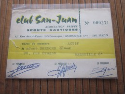 Carte De Membre Du Club San -Juan Association Privée Sport Nautique , Ski Malmousque Marseille Vignette 1964, 65, 66 - Diving