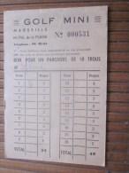 Carte De Visite Publicitaire Golf Mini Hôtel De La Plage Marseille Bon Pour Un Parcours De 18 Trous - Trading Cards