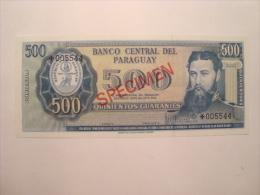 PARAGUAY - Billet Specimen De 500 Guaranies - UNC - Neuf - L1952  P.200 - Paraguay