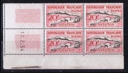 Natation  Yv 960  Coin Daté Du 17.2.54  ** - Coins Datés