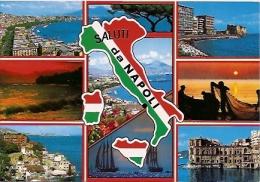 ITALIA- CAMPANIA- NAPOLI:  Nº 325. CARTOLINA POSTALE SALUTI DA NAPOLI. MULTIVIEW!  ED. VICENZO CARVALLO. GECKO. - Napoli (Naples)