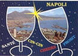 ITALIA- CAMPANIA- NAPOLI:  Nº 324. CARTOLINA POSTALE MULTIVIEW CIN CIN NAPOLI! CHEERS! NON CIRCOLATA. GECKO. - Napoli (Naples)