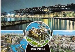 ITALIA- CAMPANIA- NAPOLI: CARTOLINA POSTALE MULTIVIEW NAPOLI NOTTE. NON CIRCOLATA. GECKO. - Napoli (Naples)