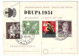 JV11 °°°  ALLEMAGNE   EXPOSITION INTERNATIONALE 1954 DRUPA Cote Des Timbres 15 € - Cartoline Maximum